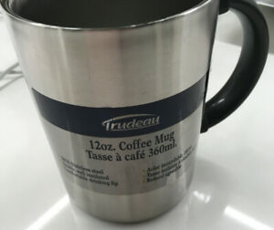 NEW! Set of 4  -  12 oz Trudeau Stainless Steel Coffee Mugs