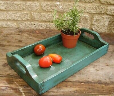 lovely painted antique pine seed tray cutlery serving tray