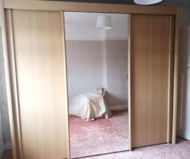 Large sturdy wardrobe Sliding doors mirror Beech