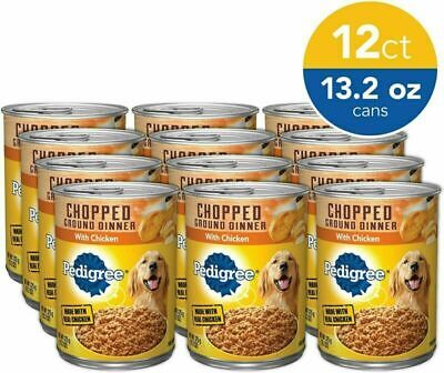 Pedigree Chopped Ground Dinner Wet Dog Food, Chicken 13.2 oz. Cans Pack of 12