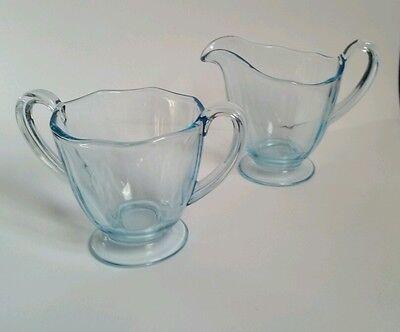 "Fostoria Glass AQUA ""Fairfax"" pattern (c.1928-41)  Creamer and Sugar 3"" size"