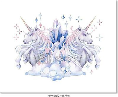 Cute Watercolor Unicorn Art Print Home Decor Wall Art Poster ()