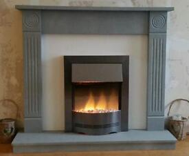 Wooden fireplace jus painted stone grey