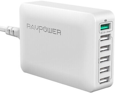 RAVPower Quick Charge 3.0 USB Ladegerät 6-Port Ladeadapter iPhone Android weiß