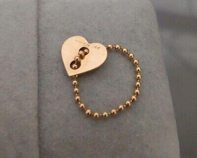 Ginette NY 14K Yellow Gold Heart Tag Chain Ring Loren Stewart Anita Ko