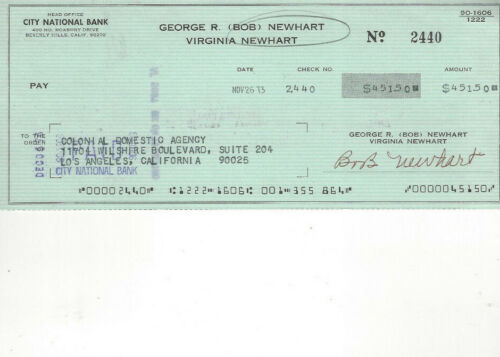 1973 check signed by the actor & Comedian Bob Newhart