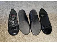 Two pairs of size two shoes girls