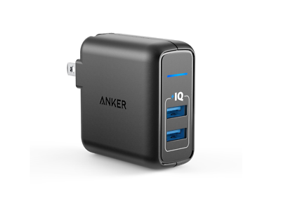 Anker 24W Dual USB Wall Charger PowerPort 2 with Foldable