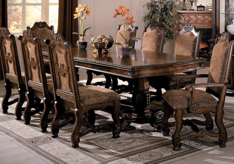Traditional Cherry Finish Formal Dining Room Set 5pcs Crown Mark Neo Renaissance