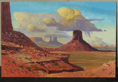 Paul H. Davis Orig. Signed Painting- Arizona Monument Valley Overlook 70 X 48""