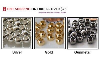 6mm Round Large Hole Brass Metal Beads 25 ()