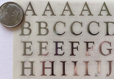 CLASSIC SILVER ALPHABET Stickers(2 Sheet)Upper/Lower Case•Letters •Wedding•Word ()