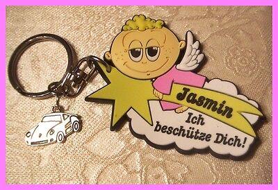 Süßer Auto Schutzengel Namen Schlüsselanhänger JASMIN Glücksbringer NEU (C448) ()