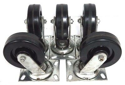 Lot Of 5 New Albion 6 Swivel Plate Caster Wheels 4 Hole