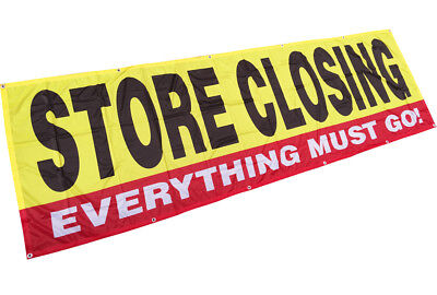 Store Closing Banner Sign Sale Clearance Vinyl Alternative 3x10 Ft Fabric Yb