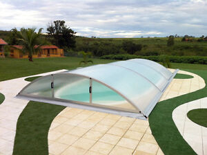 Swimming Pool Retractable Enclosure Cover,Lockable for Safety Factory Direct