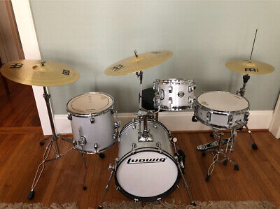 Ludwig Breakbeats By Questlove 4 Pc White Sparkle Kit Plus 3 Menial Cymbals