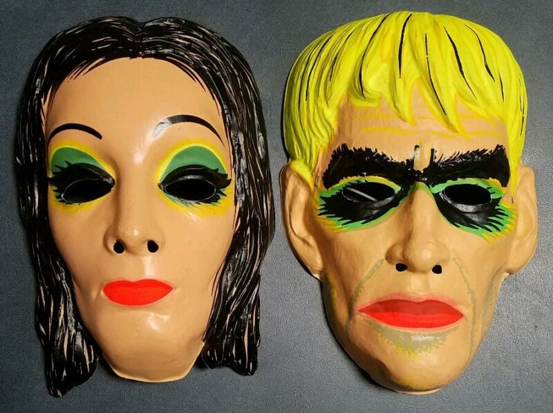 2 Orig 1960s Addams Family Morticia & LURCH Ben Cooper Halloween Masks Vintage