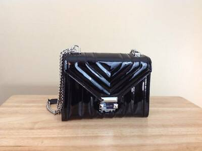 Michael Kors Whitney Quilted Patent Leather Large Shoulder Bag Black Silver NWT