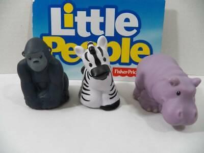 ~Fisher Price Little People~ Animals Zoo Talkers Gorilla, Zebra, & Rhino Figures