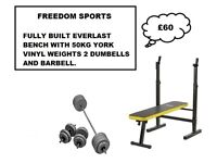 Everlast Folding Workout Bench with 50kg York Vinyl Weights 2 Dumbells 1 Barbell