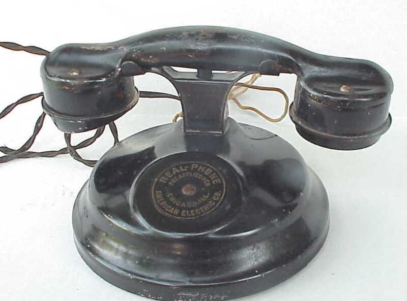 Antique American Electric Tin Real - Phone Telephone