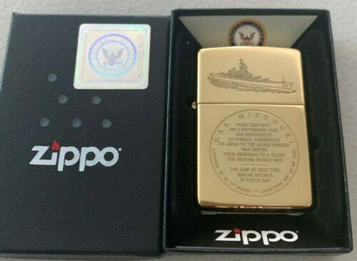 Zippo 254 Brass USS Missouri Battle Ship Seal Lighter Tokyo Bay Japan END WW2