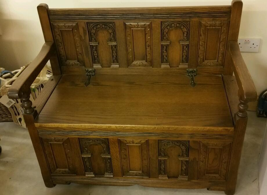 OLD CHARM SOLID OAK HAND CARVED MONKS BENCH in Cwmbran  : 86 from www.gumtree.com size 920 x 672 jpeg 71kB