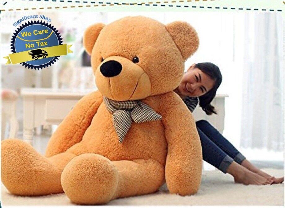 """Big Teddy Bear Giant 47"""" Stuffed Animal Plush Toy Soft 120CM Huge Cuddly Brown"""