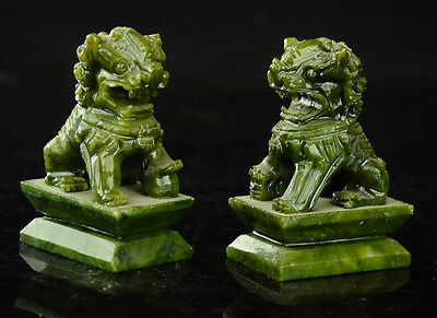 Rare A pair of 100%  China natural green jade hand-carved statues fo dog lion