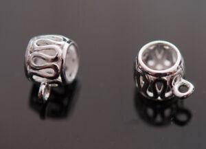 455f319e4 Wavy Charm Carrier bail dangle hanger bead Genuine 925 Sterling Silver 1  Bead