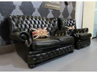 Stunning Refurbished Chesterfield Monk Back Centurion 2 Seater & Chair Green Leather - Uk Delivery