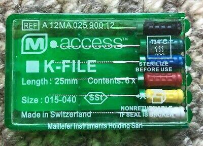 Dentsply Maillefer K-file Endodontic Dental Files 015-040 25mm