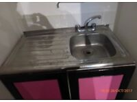 fully functional kitchen sink & set of taps with cupboard & two doors collection london e8 3bq