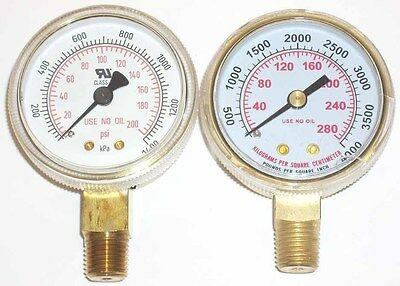 2 Oxygen Regulator Gauge Set For Victor Or Harris 14 Npt Inlet