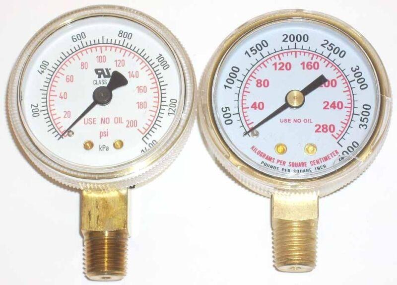 """2"""" Oxygen Regulator Gauge Set for Victor or Harris 1/4"""" NPT Inlet"""