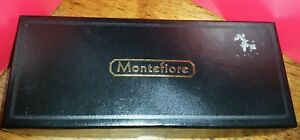 MONTEFIORE 2 PIECE PEN AND PENCIL SET MARBLED RED WITH BOX VERY NICE !!