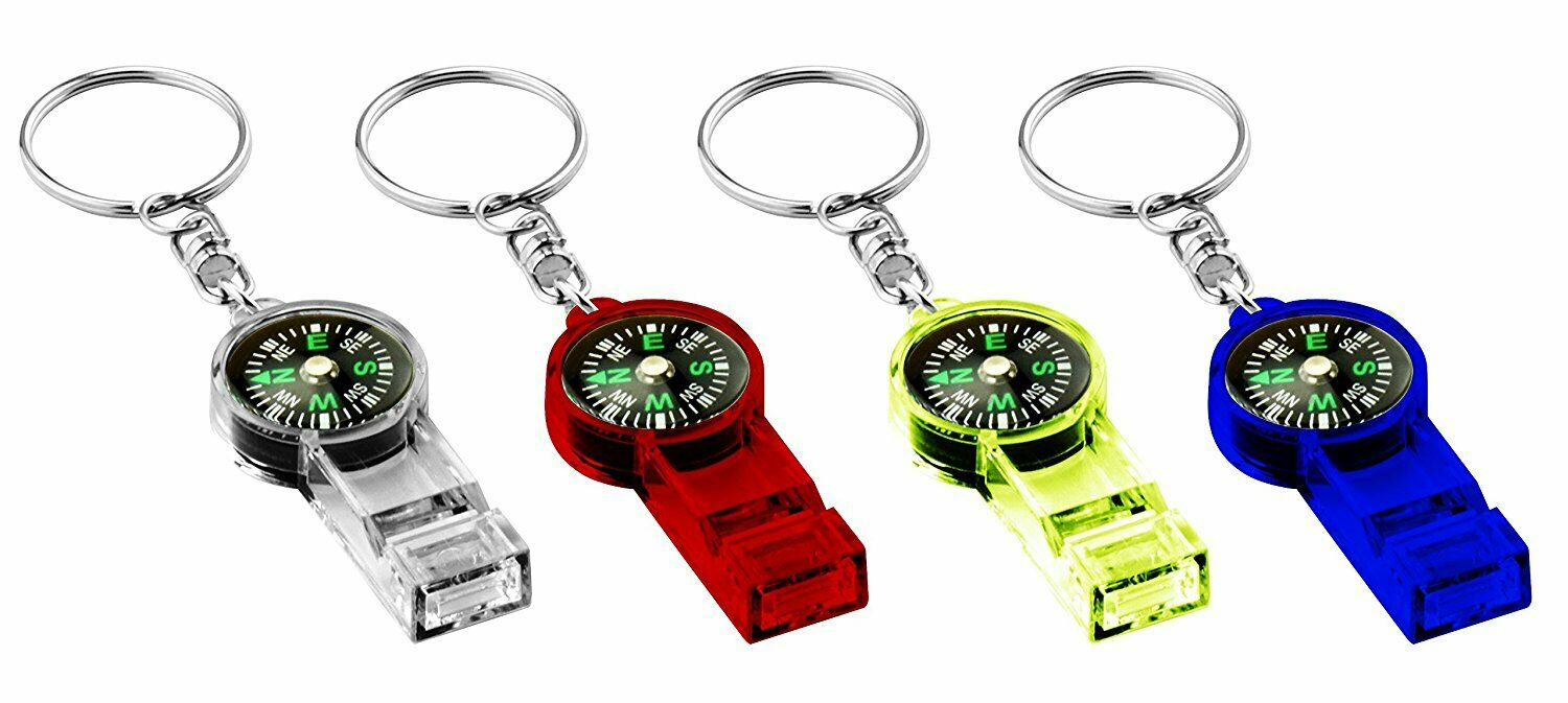 4pcs Survival Whistle Compass for Camping Hiking Outdoor Eme