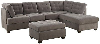 Classic 3-Piece Reversible Sectional Sofa with Ottoman Sofa Set, Charcoal Grey
