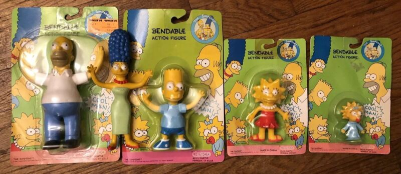 The Simpsons Vintage Bendable Action Figures In Original Boxes