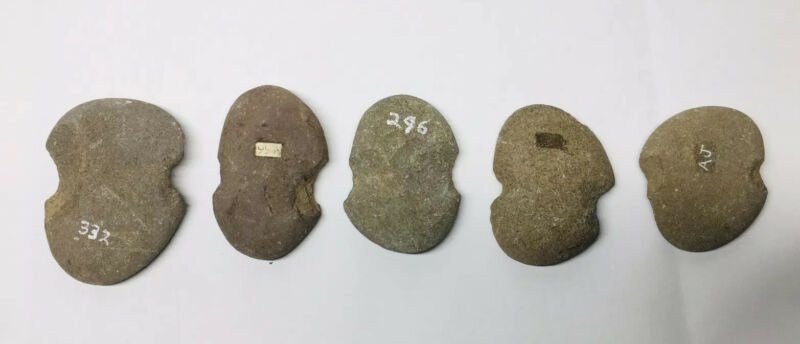 Collection of (5) Native American Fishing Net Stone Weights Notch Tool Artifact