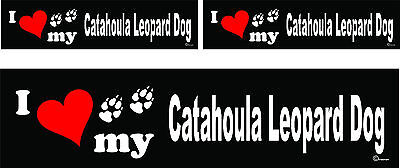 (3) I love my Catahoula Leopard Dog bumper vinyl stickers decals 1 large 2 small