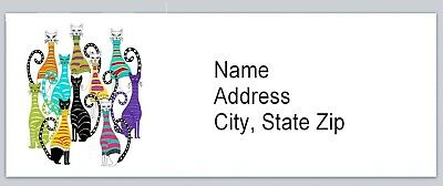 Personalized Address Labels Colorful Abstract Cats Buy 3 Get 1 Free Bx 521