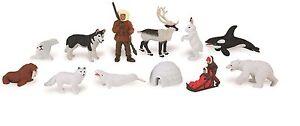 ARCTIC TOOB  toy animals set of 12 figurines play / cake decorations Safari Ltd