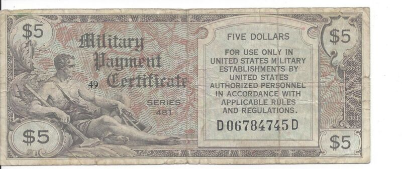 MPC Series 481  5 Dollars  3rd  Printing  Fine