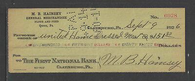 1926 M B HAINSEY GEN'L MERCH FLOUR FEED QUEEN PA CLAYSBURG PA ANTIQUE BANK CHECK
