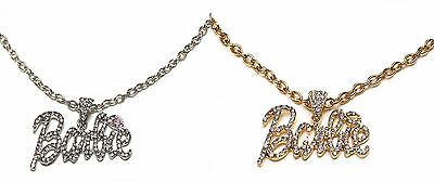 Iced Out Rhinestone BARBIE Necklace Celebrity Style  - Silver