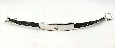 Lauren Ralph Lauren Strap Bracelet Silver Tone ID Bar Toggle Brown Strap Signed