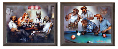 Dogs Playing Pool Dan And Poker Cards Two Set Framed 8x10 Wall Decor Art Picture