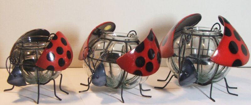 Ladybugs Set of 3 Metal & Glass Candle Holders Patio Table Decor